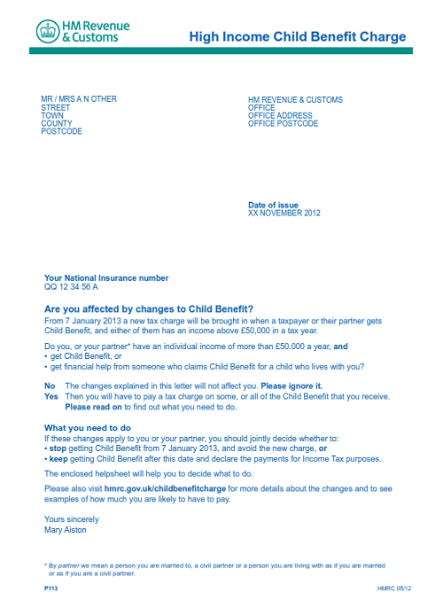 Child benefit tax charge letter spiritdancerdesigns Choice Image